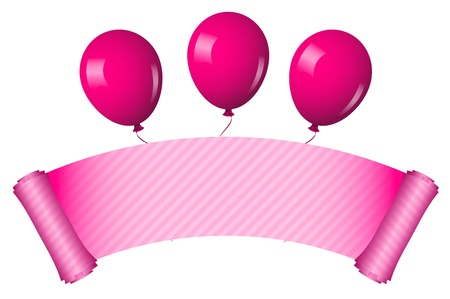 Vector illustration of pink scroll with balloons Vector