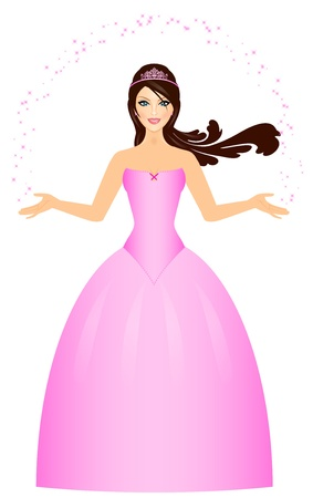 king and queen: Vector illustration of beautiful Princess in pink