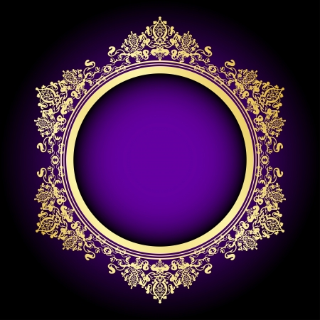 gold frame: Vector purple   gold frame Illustration