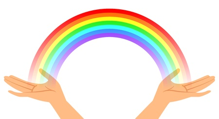 spiritual woman: Vector illustration of hands with rainbow Illustration