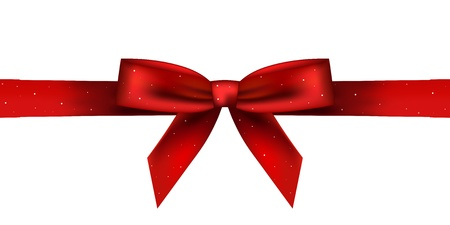 gift ribbon: Vector illustration of red shiny bow