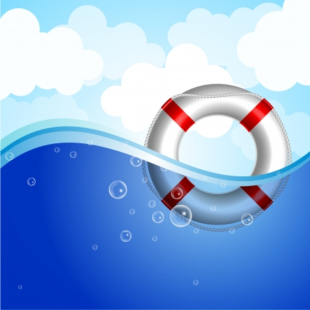 ring buoy: Vector illustration of Life Buoy in water