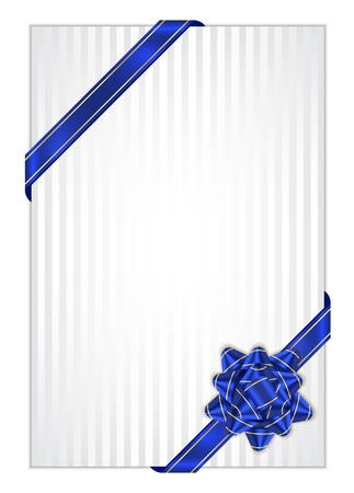 Vector white present background with blue bow Vector