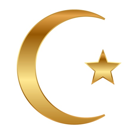 illustration of gold star and crescent Vector