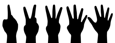 three hands: illustration of counting hands