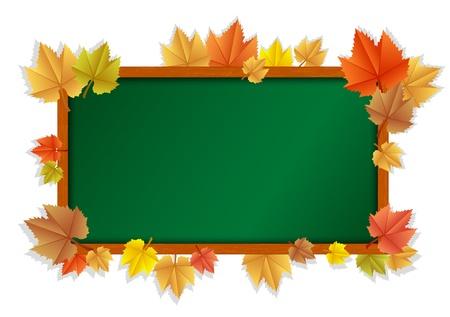 educacion ambiental: ilustración de la pizarra de madera con hojas