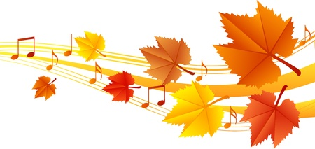 retro music: Autumn music illustration