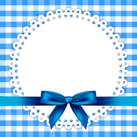childish: синий фон с салфеткой и ленты
