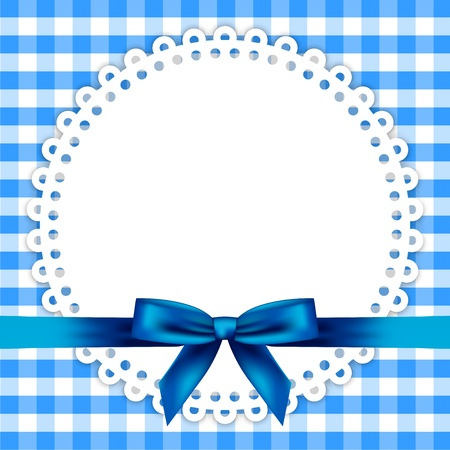 chequered ribbon: blue background with napkin and ribbon Illustration