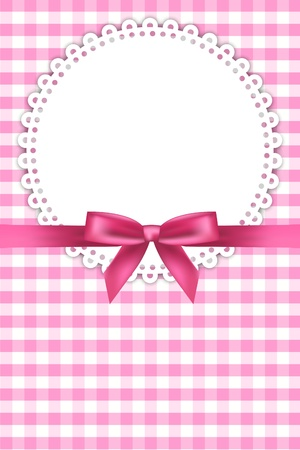 baby pink background with napkin and ribbon Illustration