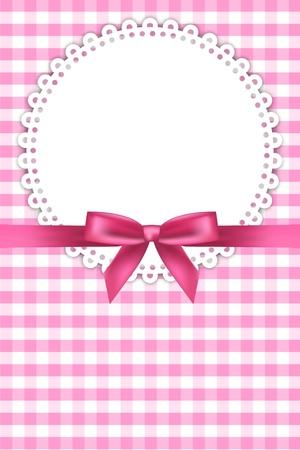 doilies: beb� de color rosa de fondo con la servilleta y la cinta Vectores