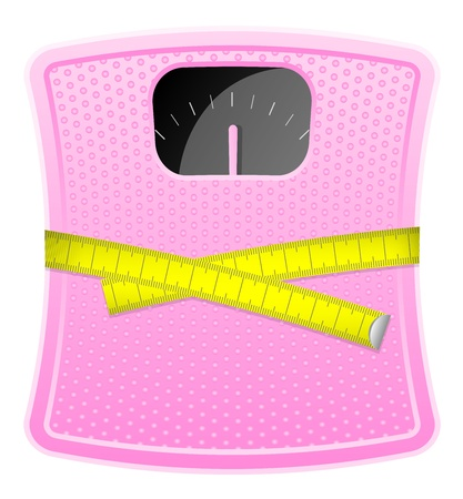 measurement tape: illustration of  pink bathroom scale with measuring tape Illustration