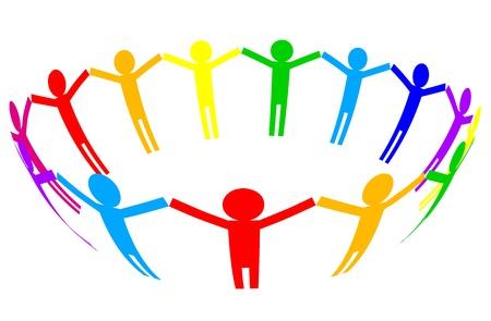companionship: icono de colorido - la gente en el círculo Vectores