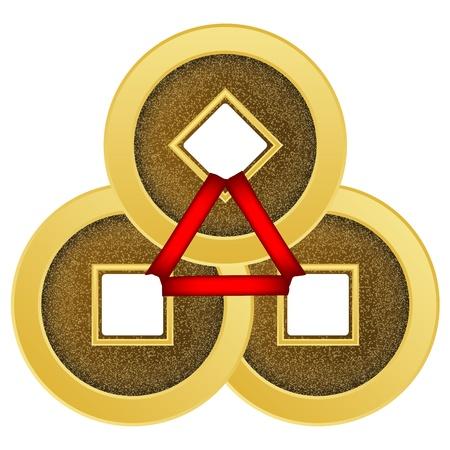 lanyard: El feng shui monedas Vectores