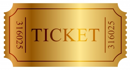 theater: illustratie van gouden ticket Stock Illustratie