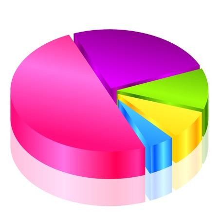 graph trend: Vector 3d pie graph Illustration