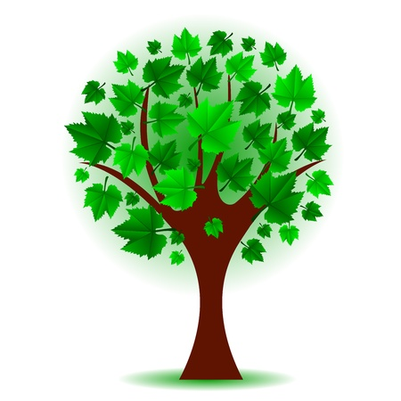 lonely tree: illustration of green tree Illustration