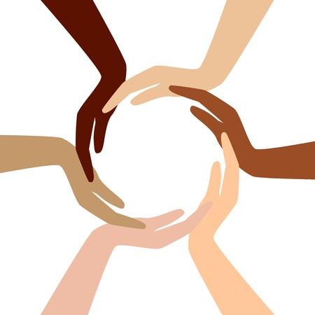 racisme: cirkel van verschillende handen Stock Illustratie