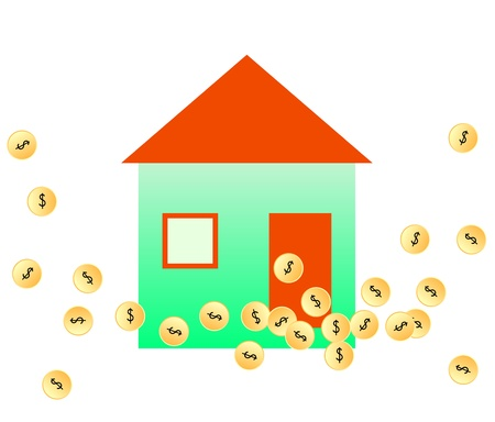 illustration of gold coins &amp, house Stock Vector - 14646066