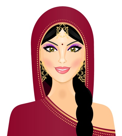 traditionally indian: illustration of Indian woman smiling