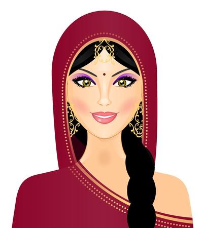 east indian: ilustraci�n de la mujer ind�gena sonriendo
