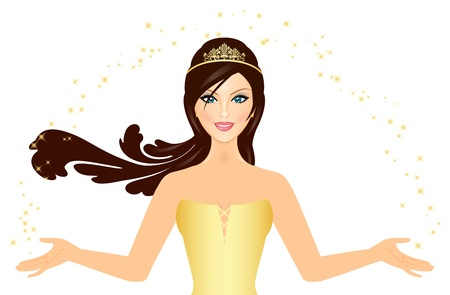 beauty queen: illustration of beautiful Princess in gold