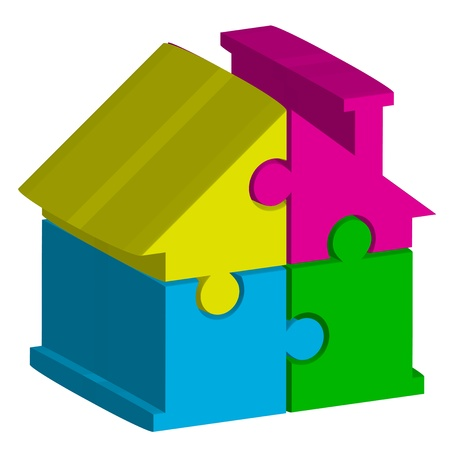 Vector 3d illustration of house from puzzles Vector