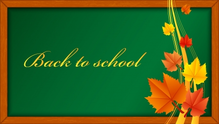 Vector illustration of wooden blackboard with leaves Vector