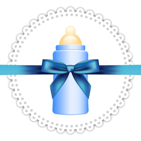 cute baby girls: Vector background with napkin, baby bottle and bow