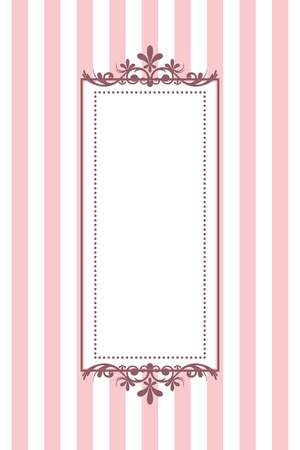 fuchsia flower: Vector vintage pink striped frame