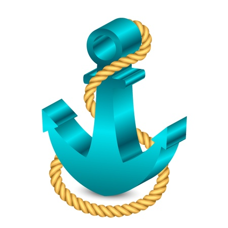 3d boat: Vector 3d illustration of anchor with rope Illustration