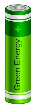 Vector illustration of  green battery Stock Vector - 15210678