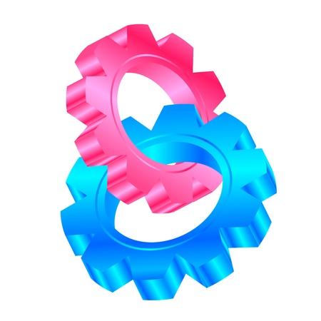 three wheel: Vector illustration of cog wheels entwined