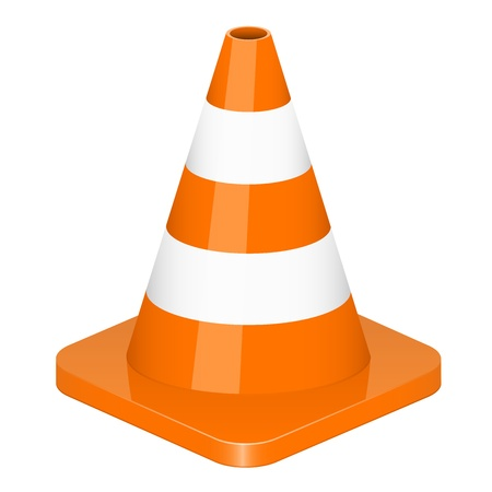 road work: Vector illustration of traffic cone