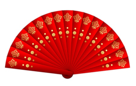 chinese fan: Vector illustration of red fan