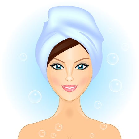 Vector illustration of girl in bathroom  spa Vector