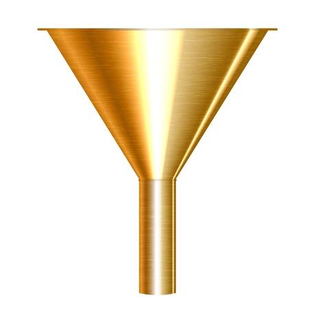Ilustración vectorial de embudo oro
