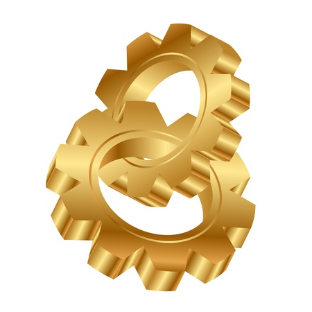 interlocked: Vector 3d illustration of golden cog wheels