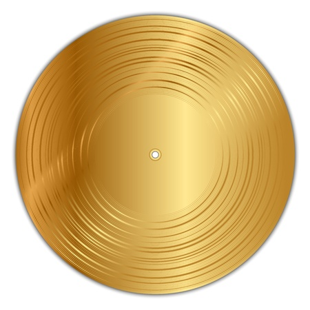 gold record: Vector illustration of golden vinyl record Illustration