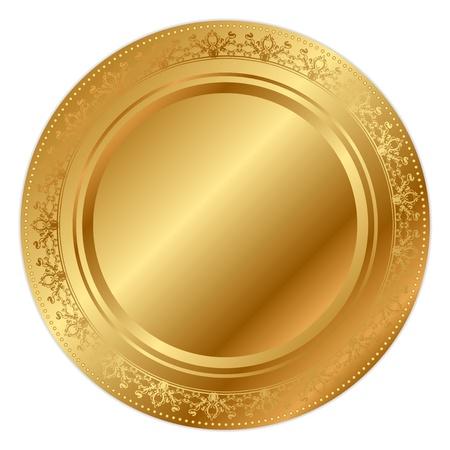 platina: Vector illustratie van gouden dienblad Stock Illustratie