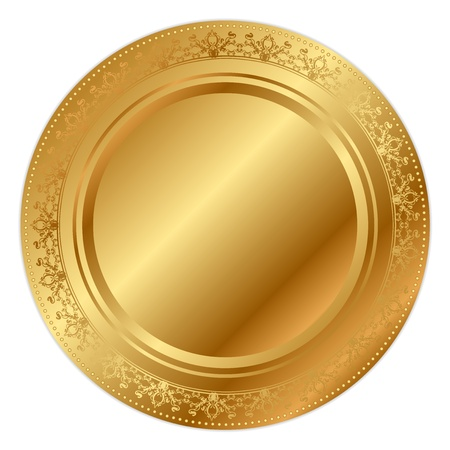 waiter tray: Vector illustration of gold tray