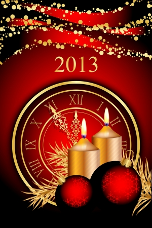 midnight hour: Vector 2013 New Year background Illustration