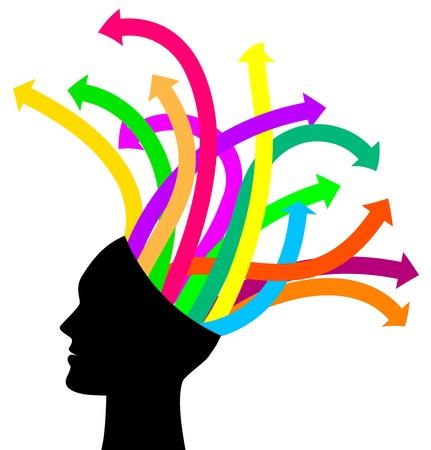 cerebro blanco y negro: Los pensamientos y las opciones - ilustración vectorial de la cabeza con las flechas
