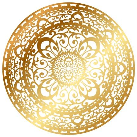 white napkin: Vector illustration of gold oriental rug   napkin