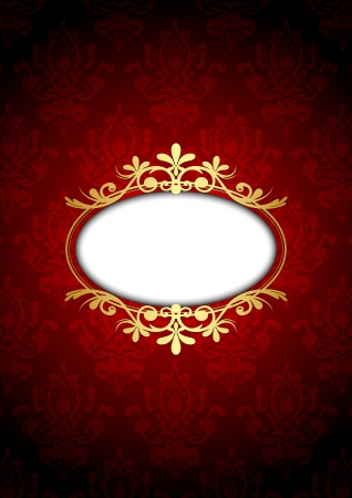 wedding frame: Vintage red and gold luxury frame