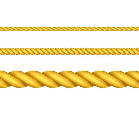 straight edge: Vector illustration of gold ropes