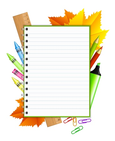 yellow notebook:  Back to school   - vector frame