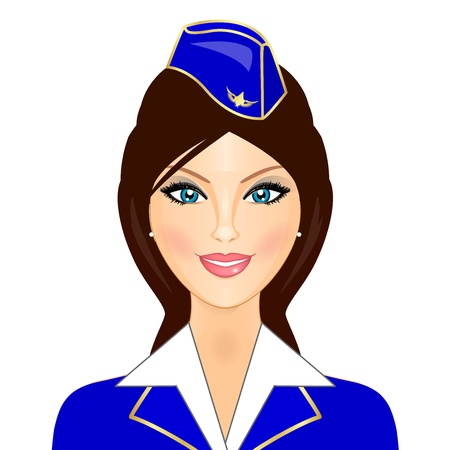 flying hat: Vector illustration of stewardess