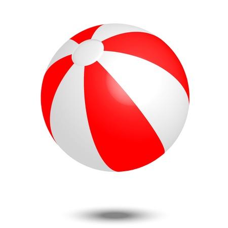 Vector illustration of red white beach ball
