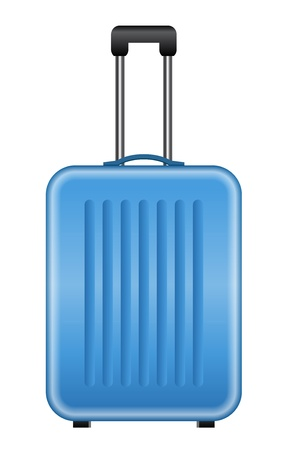 abroad: Vector illustration of blue suitcase